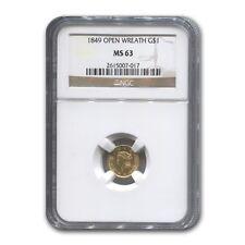 1849 $1 Liberty Head Gold Open Wreath MS-63 NGC