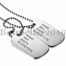 Mens FREE ENGRAVING Stainless Steel Army ID 2 Dog Tags Military Pendant Necklace