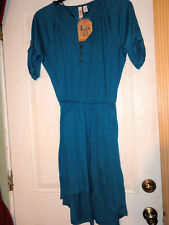 """ROUTE 66"" WOMANS SIZE XS TURQUOISE BLUE KNIT/GAUZE LOOK DRESS HI/LO DESIGN NWT"