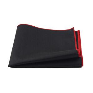 Men's Solid Black Linen Cotton Pocket Square Wedding Hanky Party Handkerchief
