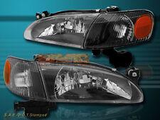 98-00 TOYOTA COROLLA BLACK CLEAR HOUSING HEADLIGHTS + AMBER CORNER REFLECTOR