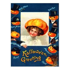 "*Postcard-Halloween Greeting-""Lady with Jack-o-Laterns""  (B168)"