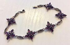 Stunning Ladies Vintage Silver Marcasite & Amethyst Bracelet Beautiful