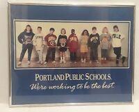VINTAGE Portland PUBLIC SCHOOL District Framed POSTER Best Sweatshirts Education