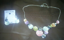 Pastel coloured necklace and matching earrings