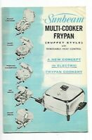 C- Vintage 1960's Sunbeam Multi-Cooker Frypan Instruction Manual & Recipe Book