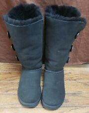 UGG Bailey Button Triplet II Sheepskin and Suede Black Women's Boots