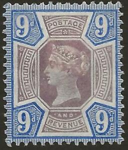 GB - QV Jubilee SG209 9d Dull Purple and Blue MINT Hinged Fine Face