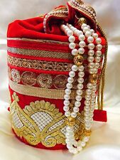 Red Gold Handbag Clutch Wallet Bollywood Indian Sari Saree Purse Velvet Pearls