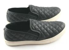 Steve Madden Ecentrco Sneakers Womens Sz 8 Quilted Black Leather Slip On Shoes