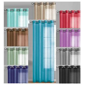 "Single Sheer Window Curtain Panel 90"" L Plaid/Check Design Metal Grommet 55Wx90L"
