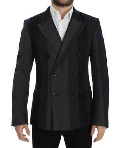 Dolce & Gabbana Blazer Men's Gray Striped Wool Stretch IT48/US38/M