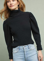ANTHROPOLOGIE KNITTED & KNOTTED BLACK GRETA TURTLENECK SWEATER PULLOVER Sz small