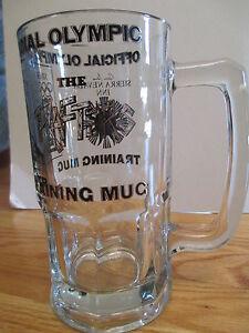 "1980 OFFICIAL  WINTER OLYMPICS Training Mug 8"" C Heavy Glass Mug MIRACLE ON ICE"
