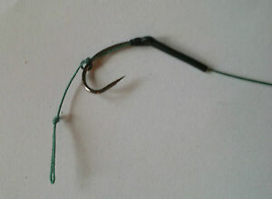 +10 blow back rigs choose size of hook 25lb hair rig with black shrink tube carp