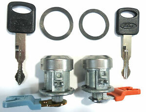 Ford Replacement Pair Front Doors Key Lock Cylinders W/2 Ford OEM Oval Logo Keys