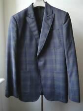 Taglio GRANDE NUOVO John Galliano giacca di lana di luce SZ 50 Blu con controlli Grigio