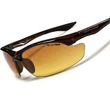 Brown Day Night Driving Biking Amber HD Lens Mens Wrap Stylish Sport Sunglasses