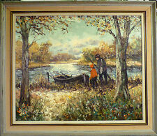 J. OLSEN! MAN AND BOY FISHING AT THE STREAM. NO RESERVE