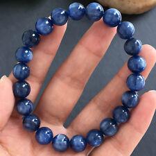 9.5mm NATURAL kyanite crystal round Bead Bracelet healing-06