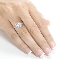 1.50 Ct Cushion Cut Diamond Halo Engagement,Wedding Ring 14K White Gold Over