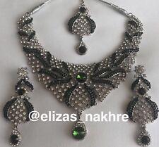 Indian/Pakistani Kundan Bollywood Style Green Crystal Zirconic Necklace Set