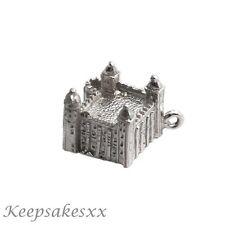 ARGENTO Sterling Torre di Londra-CASTELLO FORTEZZA NUOVO Regno Unito 3D Charm Charms