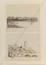 "Gino Malesevic ""Motifs of Zara in Croatia"", Two Ink Drawings, 1880s"