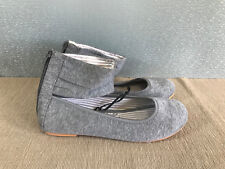 BNWT Older Girls Sz 3 Rivers Doghouse Grey marble Look Ankle Cuff Flat Shoes