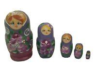 5 x Vintage Russian Babushca Nesting Dolls