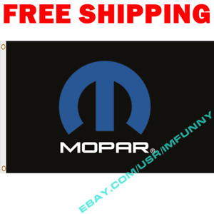 MOPAR Logo Black Banner Flag 3x5 ft Racing Car Show Garage Wall Decor Sign Gift