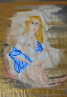 Unikat Mooseart Akt erotisches Gemälde Aquarell auf Papier 50x70cm Original