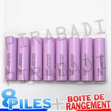 8 PILES ACCUS RECHARGEABLE 18650 3.7V 2600mAh Li-ion + BOITE DE RANGEMENT OFFERT