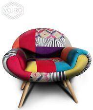 Poltroncina patchwork design vintage stile retrò stoffa multicolore