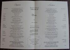 MENU PAQUEBOT FRANCE. Première classe, lundi 1 Avril 1962.