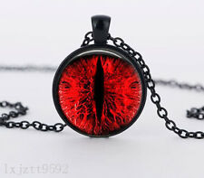 Red eyes Charm Glass Dome Cabochon Black Chain Necklace Pendant Jewelry (WC148)