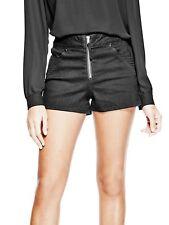 GUESS SHORTS Womens Jet Black High Rise Stretch Denim Moto Zip Shorts 26 in. NEW