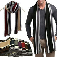 Mens Classic Shawl Winter Warm Stripe Scarves Fringe Striped Tassel Long Scarf