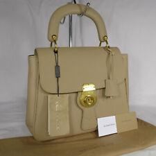 Authentic Very Rare Burberry DK88 Beige Leather Medium Tote Handbag Purse Ex Con