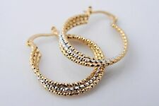 New 14K Yellow & White Gold Filled 2-Tone Textured Twisted Round Hoop Earrings