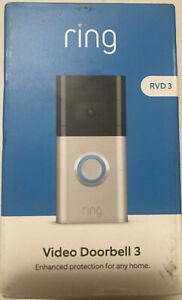 Ring Video Doorbell 3 Satin Nickel RVD 3 Brand New HD 1080P Security Camera