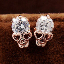 Women Ladies Rose Gold Tone Crystal Diamond Skull Pierced Studs Earrings Jewelry