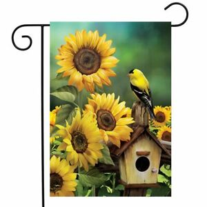 "Goldfinch and Sunflowers Summer Garden Flag Birdhouse Floral 12.5"" x 18"""