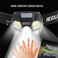 Headlamp Torch Flashlight Waterproof LED Headlight USB Rechargeable Sensor Band