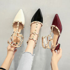 Rock Strappy Studded Pointy Rivet Maroon Slingbacks Sandals Plus Women Shoes