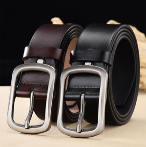 Men's Genuine Leather Belt Casual Pin Buckle Waist Belt Waistband Belts Strap