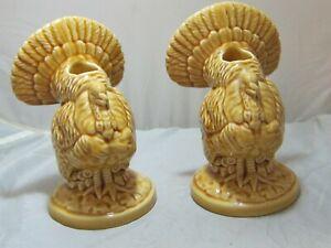 Bordallo Pinheiro Set of 2 Turkey Thanksgiving Candle Holders Brown Glaze 1 Chip