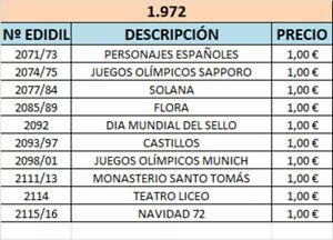 Sellos España series completas del año 1.972