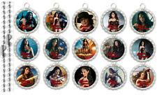 15 Wonder Woman Movie Silver Flat Bottle Cap Necklaces Set 1