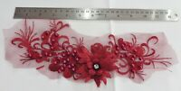 3D Floral Lace Embroidery Bridal Applique Beaded Pearl Tulle Wedding: Deep Red